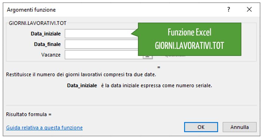 La sintassi della funzione Excel GIORNI.LAVORATIVI.TOT
