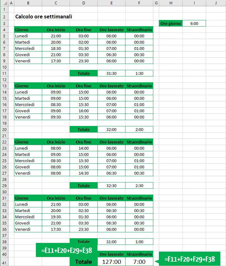 Foglio Excel calcolo ore mensili