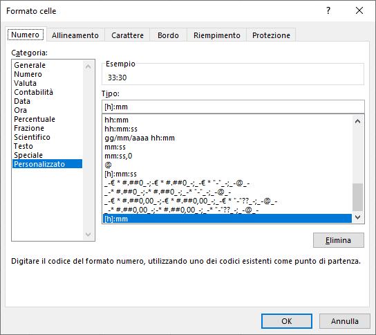 Formato celle Excel | Orario di lavoro Excel