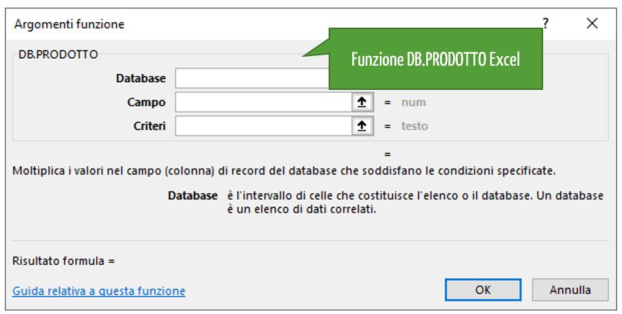 La funzione DB.PRODOTTO Excel