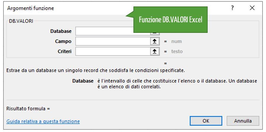 Le funzioni per individuare un singolo dato | La funzione DB.VALORI Excel