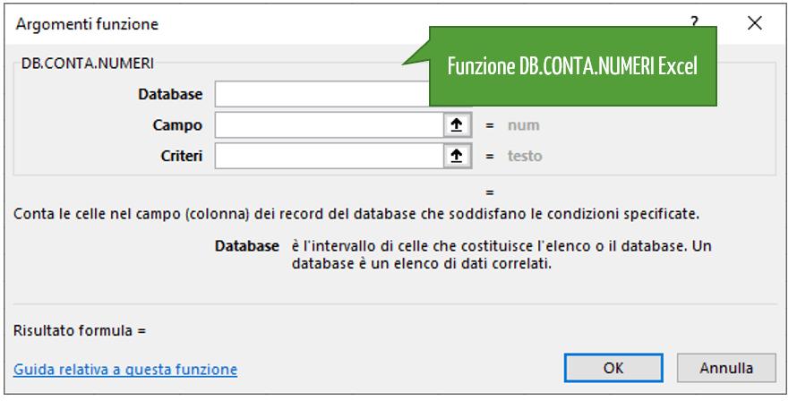Le funzioni database Excel per il conteggio | Funzione DB.CONTA.NUMERI