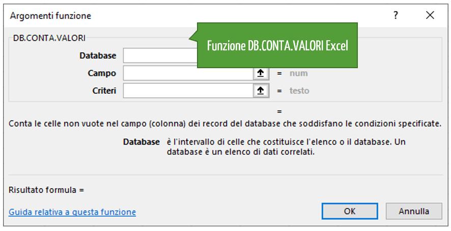 La funzione DB.CONTA.VALORI Excel | Funzioni database Excel