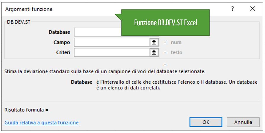 Le funzioni statistiche | La funzione DB.DEV.ST Excel