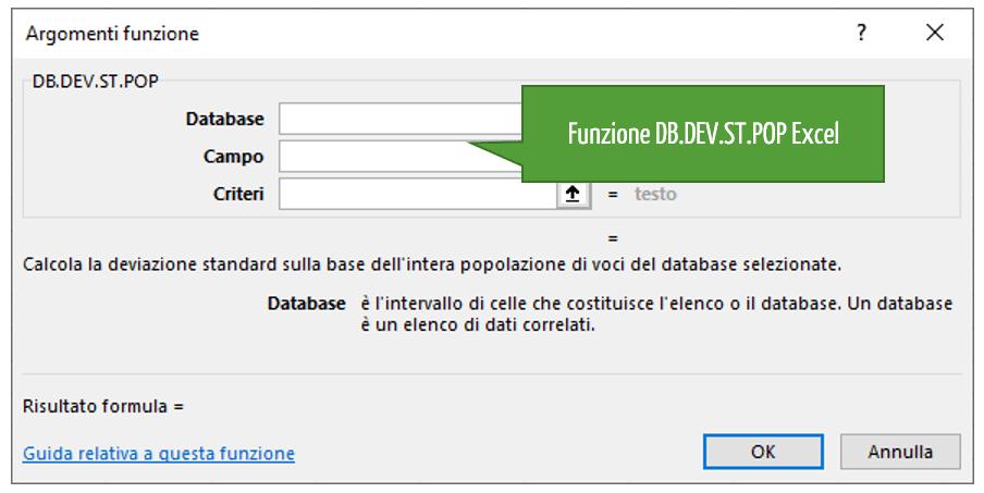 La funzione DB.DEV.ST.POP Excel