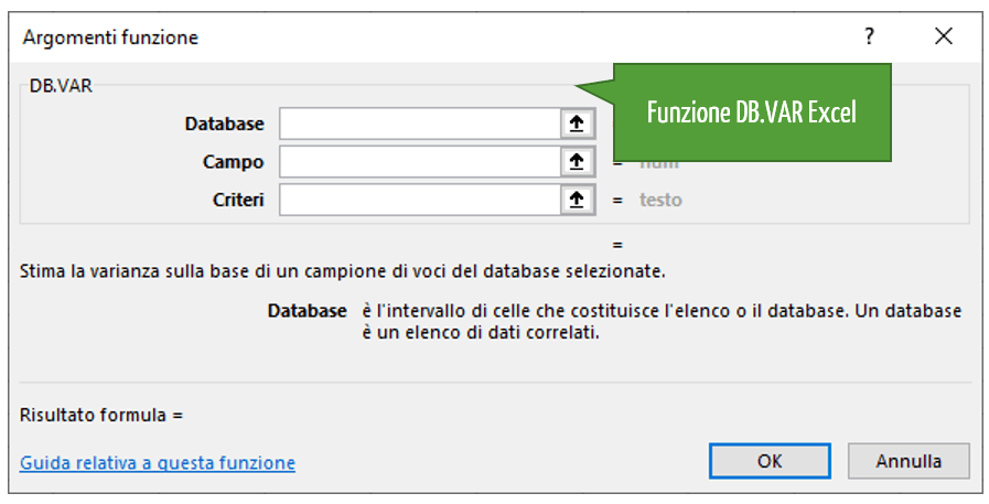 La funzione DB.VAR Excel