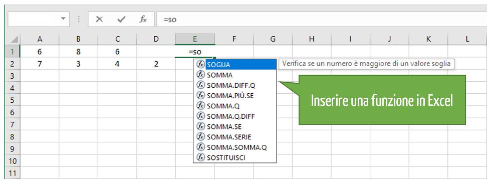 Inserire una funzione Excel