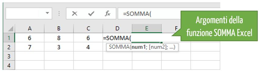 Guida Excel | Argomenti della funzione SOMMA Excel