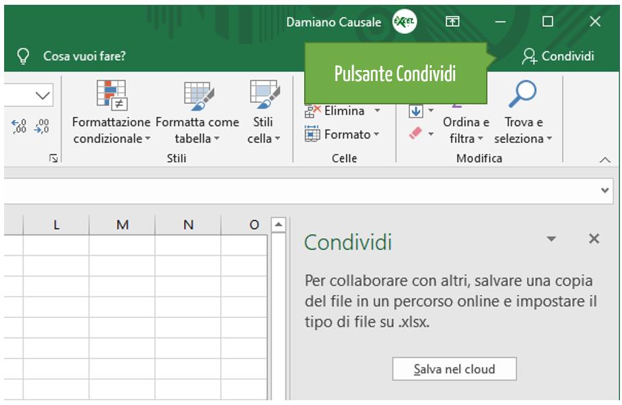 Pulsante condividi Excel