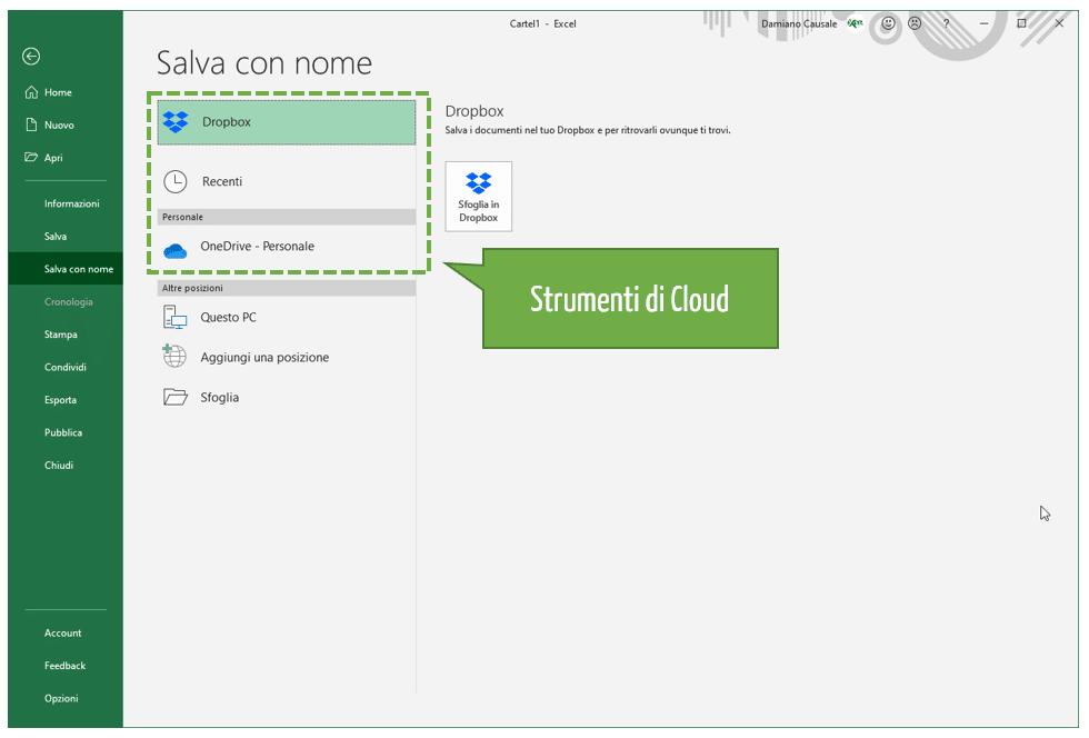 Strumenti di Cloud Excel