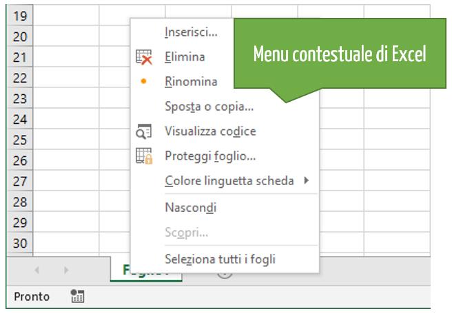 Usare Excel | Excel come funziona il menu contestuale Excel | Guida utilizzo Excel