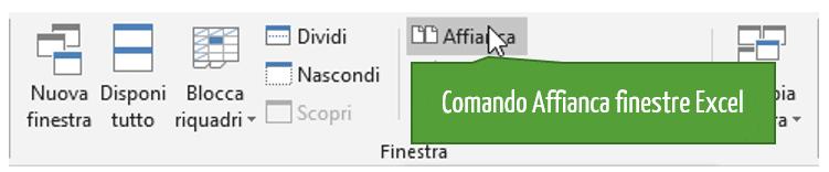 Comando affianca finestre Excel