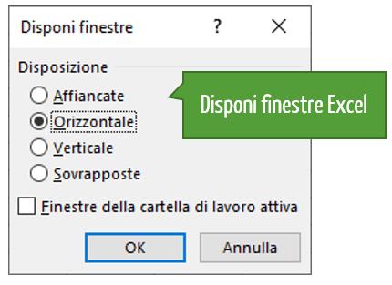 Finestra di dialogo disponi finestre Excel