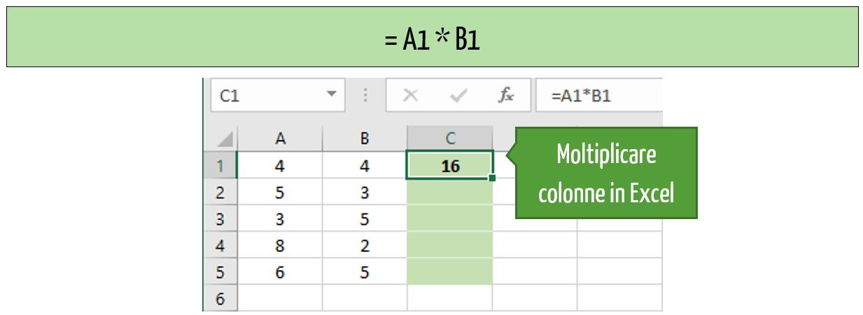 moltiplicazione excel formula