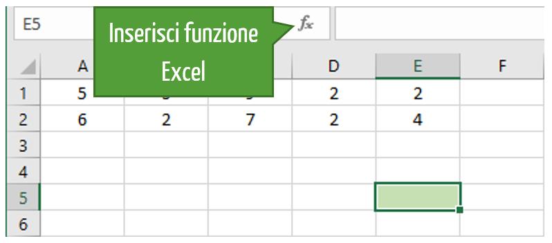 inserire funzione excel moltiplicazione