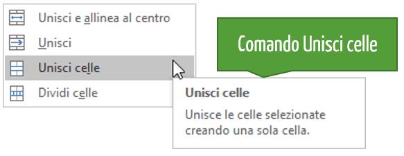 Il comando Unisci celle Excel
