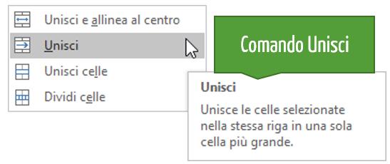 Il comando Unisci Excel