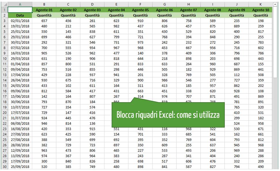 blocca riquadri Excel | Bloccare celle Excel | Bloccare foglio Excel