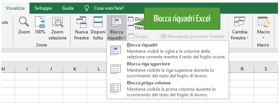 Blocco righe Excel