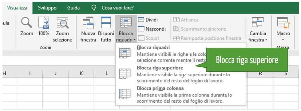 Blocco riga Excel | Bloccare riga Excel