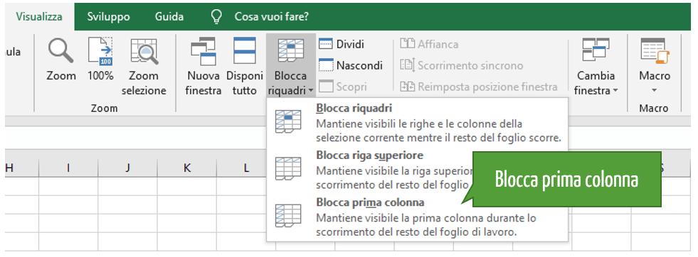 Blocca prima colonna Excel