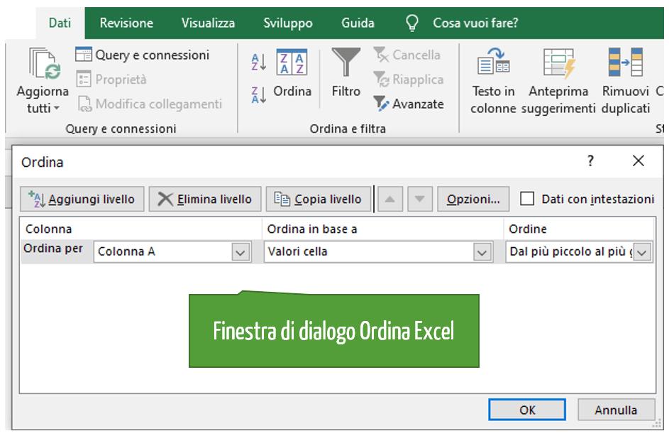 finestra di dialogo ordina Excel | ordinamento alfabetico