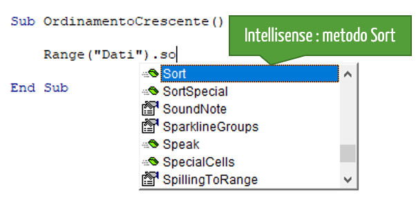 ordine alfabetico excel | menu a tendina Intellisense