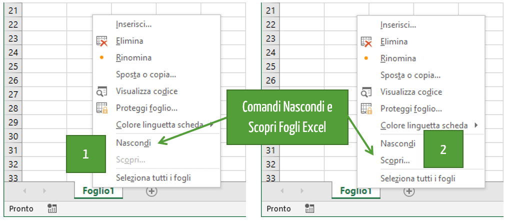 Scoprire fogli nascosti Excel con il menu di scelta rapida