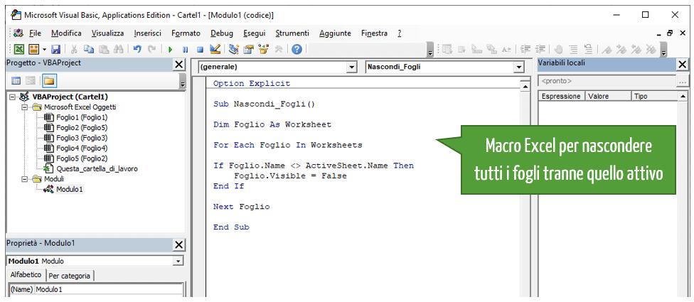 Excel VBA nascondere tutti i fogli