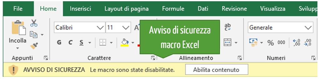 Avviso di sicurezza macro Excel | Attiva macro Excel