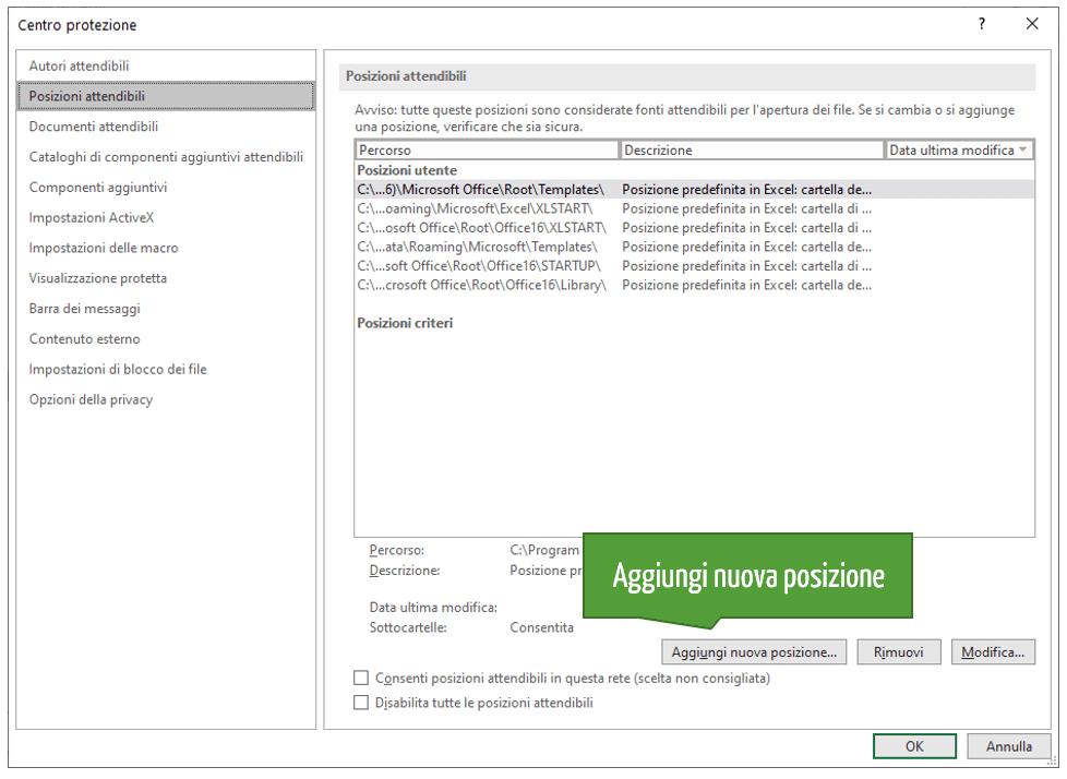 Attivare macro Excel per tutte le cartelle di lavoro in una posizione attendibile