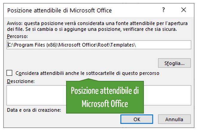 Posizione attendibile di Microsoft Office
