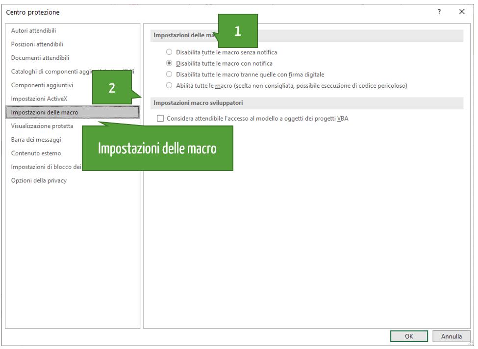 Attivare vba Excel | Finestra di dialogo impostazioni delle macro Excel