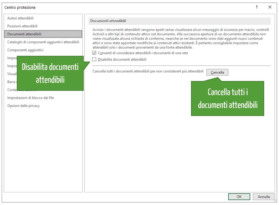 Attiva macro Excel | Disabilita documenti attendibili | Cancella tutti i documenti attendibili