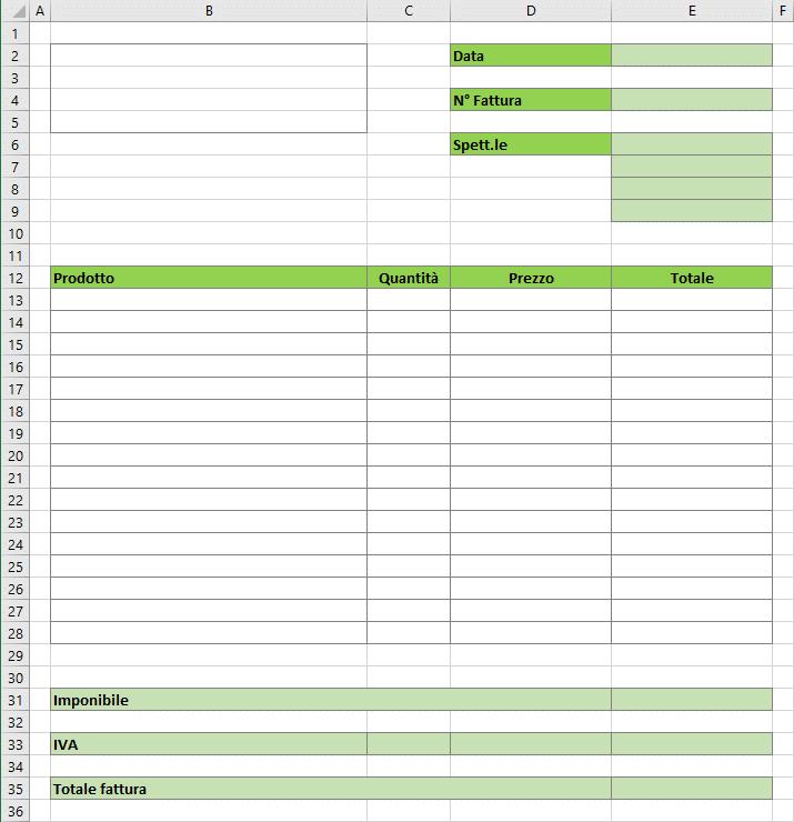 Esempio di fattura | fattura modello Excel | Esempio fattura Excel | Come fare un foglio fattura