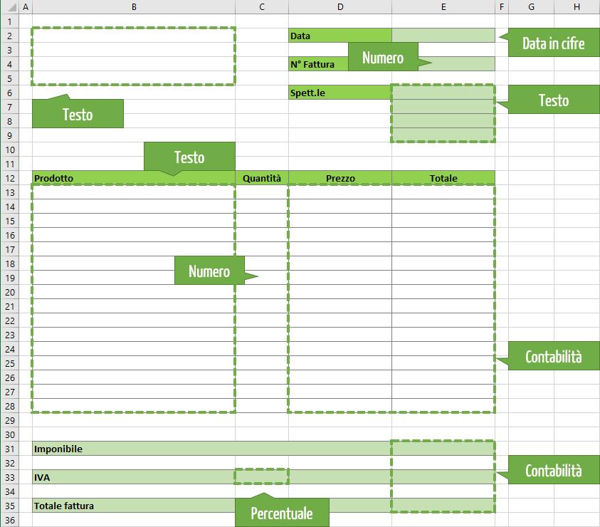 Fattura Excel | Esempi di fattura