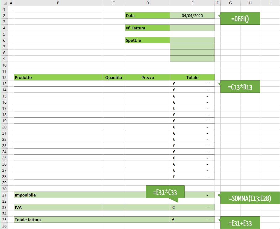 modelli fattura Excel | Crea fatture