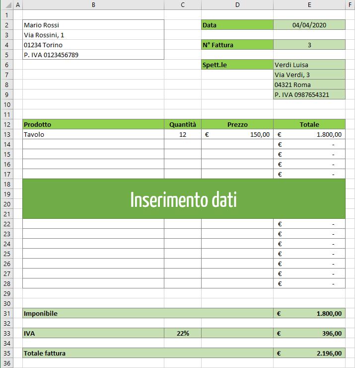 Modello fattura Excel