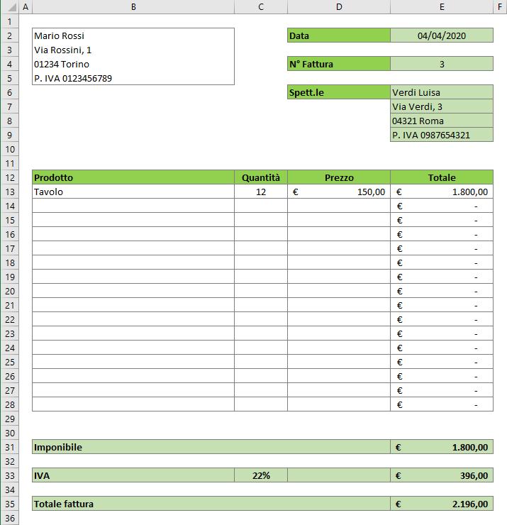 Come si fa una fattura Excel