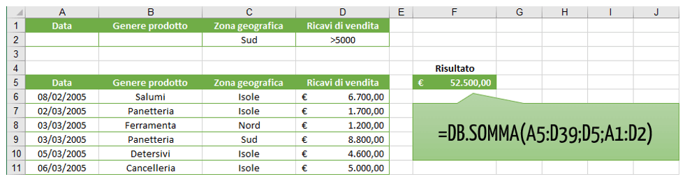 creare database con Excel | funzione database Excel