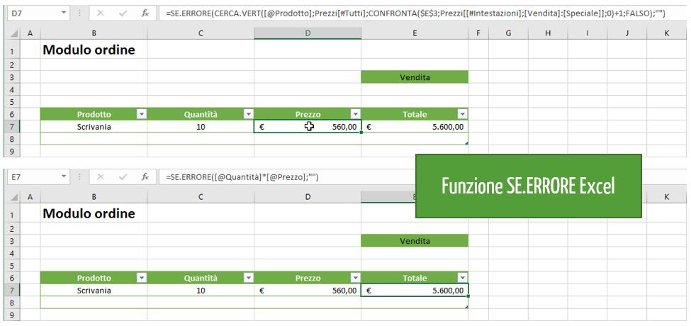 funzione SE.ERRORE Excel | Creare listino prezzi excel