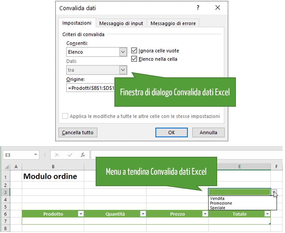 menu a tendina Excel | Convalida dati Excel