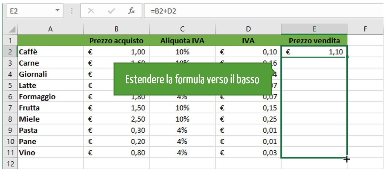 formule Excel calcolo iva