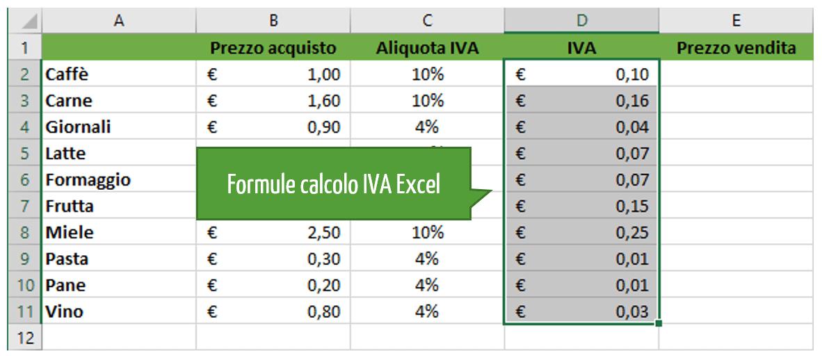 calcolo dell iva Excel