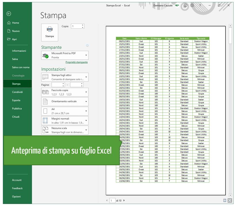 Come vedere Anteprima di stampa su Excel