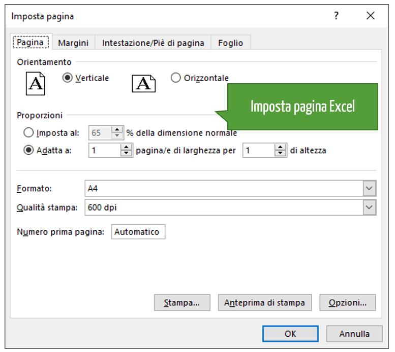 Imposta pagina Excel