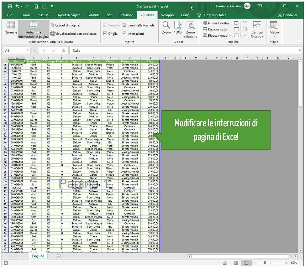 Modificare le interruzioni di pagina di Excel