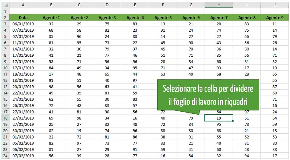 selezionare cella Excel in foglio di lavoro