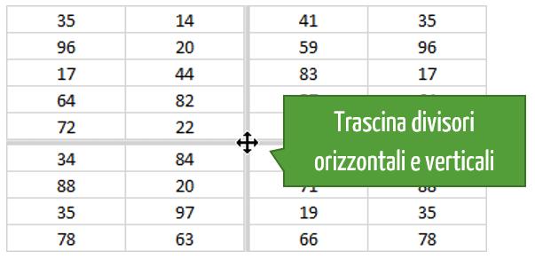 comando Dividi Excel: divisori