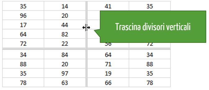 comando Dividi Excel: divisori verticali